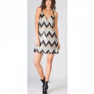 NEW Lavender Brown Small Sequin Chevron Dress S